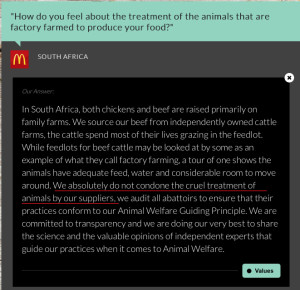 McDonald's maintain they don't condone cruelty yet still make use battery eggs.